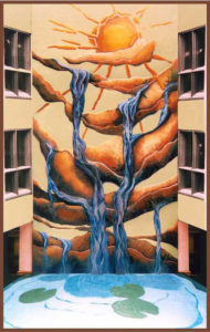 """""""From Light; Water"""" 16 metres high, includes crushed granite and glass floor, St. George hospital, Sydney"""