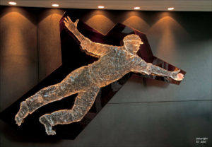 """The Catch"" 2 metre cast water clear polyurethane figure, background, cast tinted polyurethane. Private collection: Basil Sellers Group, Sydney"