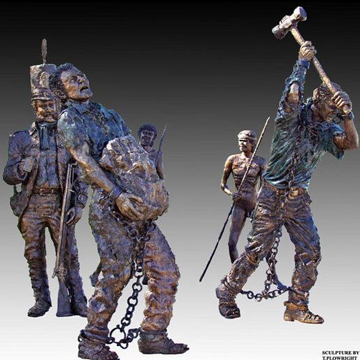 """Convict memorial"" Cast bronze figures 1/2 life size, Echo Point, NSW"