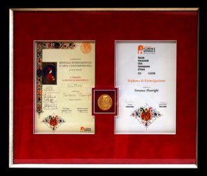 """""""Medici Medal"""" Received for artistic contribution to the Florence Biennale 2015 - Awarded 4th prize for sculpture"""