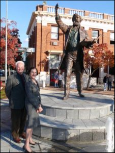 """Sir Henry Parkes Sculpture"" Parkes NSW Cast bronze, 1 1/2 life size, Governor of NSW Professor Marie Bashir & Terrance Plowright - Picture courtesy of Parkes Champion Post"