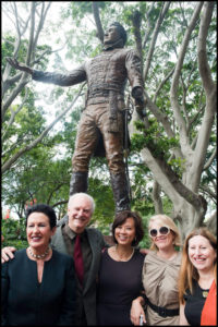 """Lachlan Macquarie"" Clover Moore, Terrance Plowright, Kathleen Ng, Bridget Smyth and Monica Barone in front of the sculpture at the unveiling"