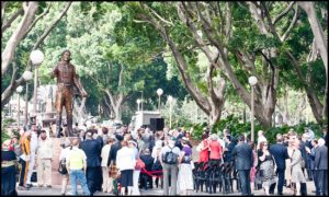 """Lachlan Macquarie"" Gathered crowd of dignitaries after the unveiling at Hyde Park"