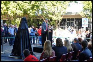 """Reg Gasnier Sculpture"" NSW MP Kevin Greene speaking at the unveiling"