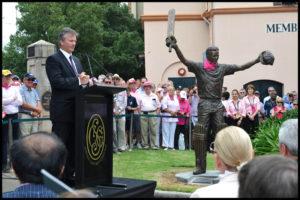 Steve Waugh speaks at unveiling