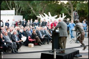 """Trevor Allan"" Terrance Plowright speaking at the Trevor Allan unveiling"