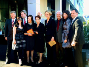 """Life from a Suitcase"" Terrance Plowright with Governor of NSW Professor Marie Bashir, Paul Signorelli, Kristina Keneally, Barry O'Farrell, Tim Webster and other dignitaries for the unveiling"