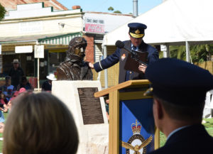 Memorial being blessed by RAAF Chaplain Air Commodore Kevin Russell