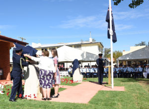 Air Vice Marshal Frank McNamara, VC, Being Unveiled by Chief of the Air Force, Air Marshal Leo Davies and McNamara's descendants