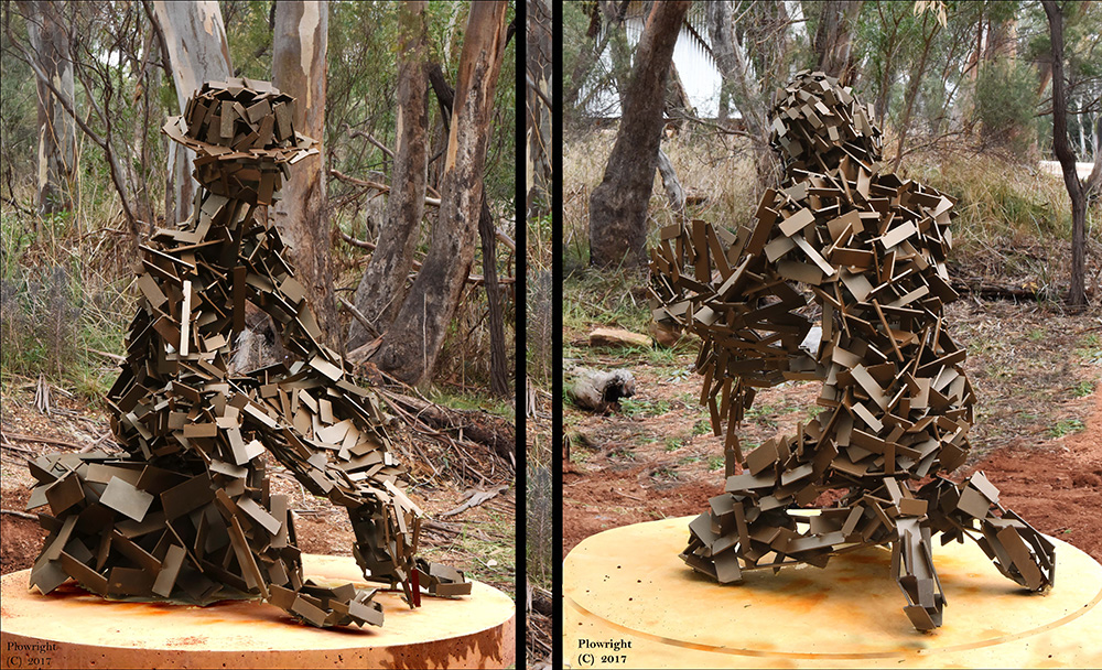 """These 2 contemporary figures have been installed at Peak Hill Gold Mine Museum NSW, they are made from over 2,500 pieces of steel and have been patinated with a Japanese bronzing chemical. Slightly larger than life size, they will form part of an interactive """"information"""" point"""