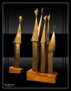 """There's Always One!!"" 3 metres high and made from brass plated steel with a bronze patination"